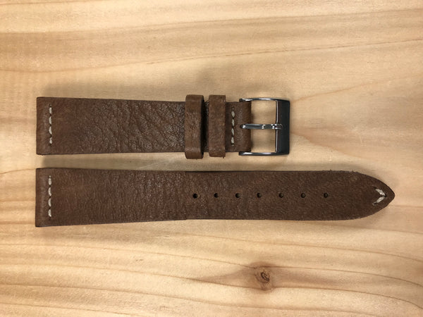 Brown Handmade & Hand-stitched Italian Leather Strap | 20mm X 16mm - Back In Time International | Back In Time International