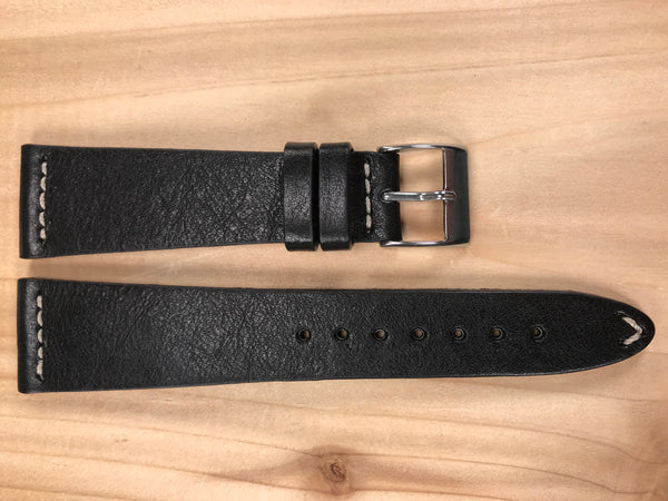 Black Handmade & Hand-stitched Italian Leather Strap | 22mm X 16mm - Back In Time International | Back In Time International