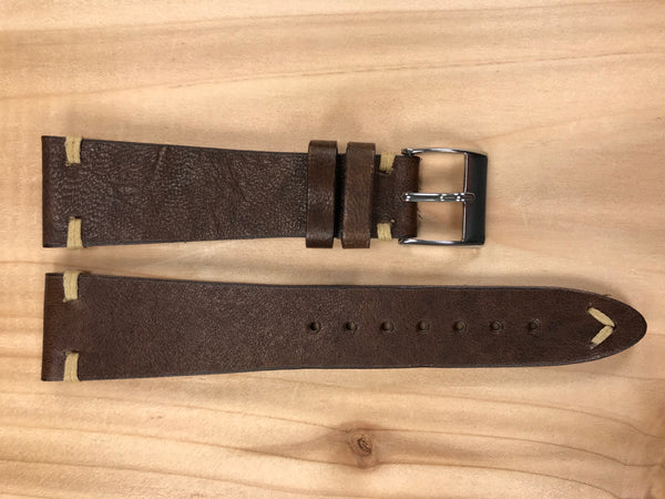 Umber Brown Handmade & Hand-stitched Italian Leather Strap | 22mm X 16mm - Back In Time International | Back In Time International