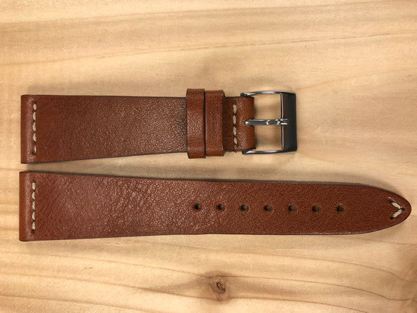 Sepia Brown Handmade & Hand-stitched Italian Leather Strap | 22mm X 16mm - Back In Time International | Back In Time International