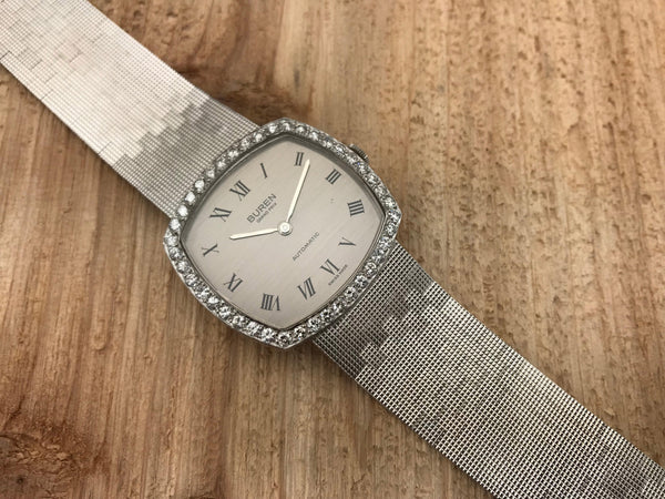 Buren 18K White Gold and Diamond Automatic Mechanical Cushion - Buren | Back In Time International