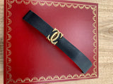 Vintage OEM Cartier 18K Yellow Gold Double C Folding Clasp W/ Generic NOS 17MM Black Calf Leather Strap