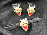 950 Silver and painted resin Hannya Mask Noh Demon cufflinks and tie bar - Cool Vintage | Back In Time International