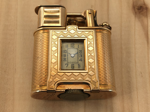 Dunhill 9K Yellow Gold Art Deco Lighter Watch