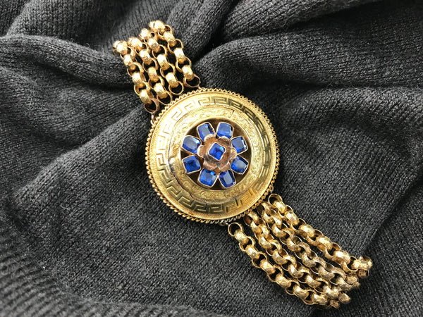 Victorian Etruscan Revival 19K yellow gold Greek key pattern round medallion bracelet set - Cool Vintage | Back In Time International