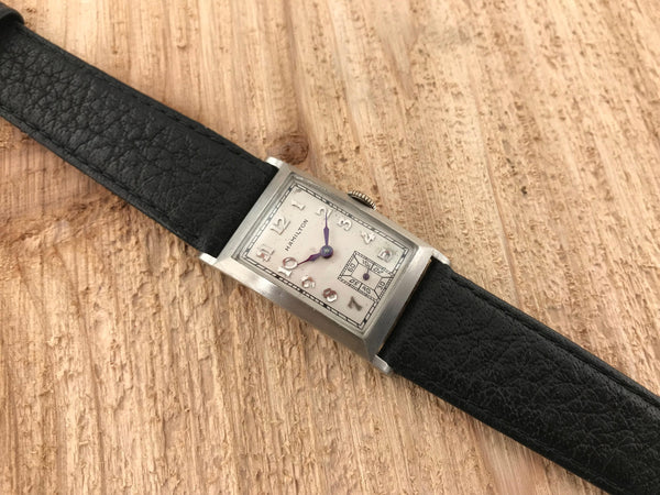 Hamilton Rutledge Art Deco Platinum Manual Wind Rectangle - Hamilton | Back In Time International