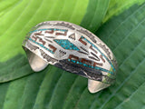 Vintage 925 Sterling silver, turquoise and coral Navajo Indian Nakai inlaid and stamped cuff bracelet