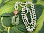 Vintage Korean serpentine jade and rose quartz beaded necklace with fruit pendant/amulet