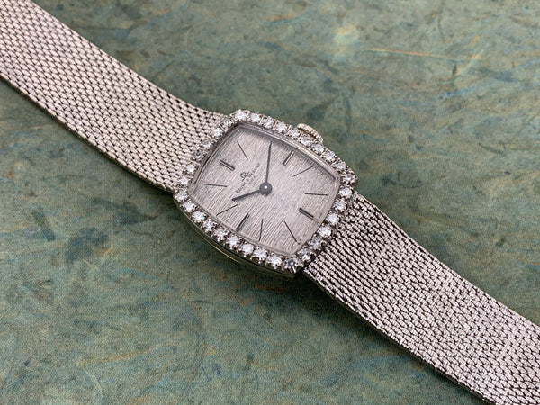 Baume & Mercier 14K White Gold and Diamond Hand Wind Mechanical Cushion