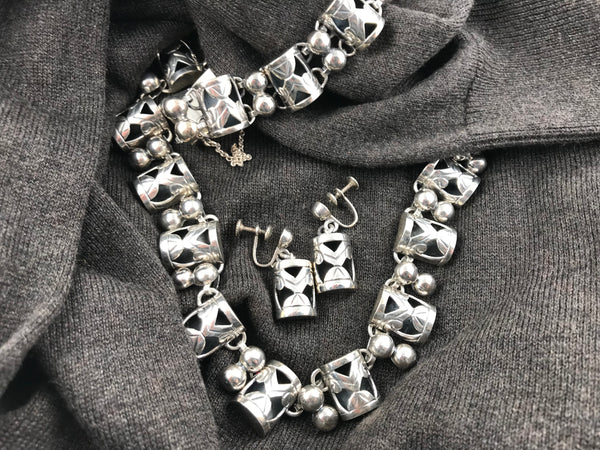 Mexican 925 sterling silver necklace, bracelet and earring set - Cool Vintage | Back In Time International