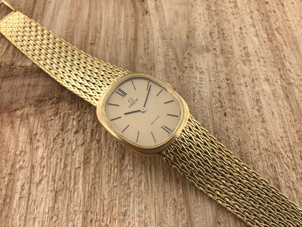 Vintage Omega 18K De Ville Manual Wind Oval Attached Bracelet 8301 - Omega | Back In Time International