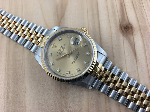 7d12a2228d2ca Rolex Oyster Perpetual Datejust Stainless Steel 18K Gold with OEM Diamond  Dial 16233