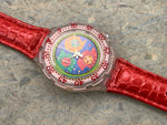 Vintage NOS Swatch Originals AquaChrono Lillibeth SBK104 Plastic/Leather Quartz 1994 RARE!