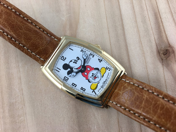 Vintage Seiko Mickey Mouse 60th Anniversary Gold-plated Tonneau Quartz NOS