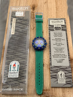 Vintage NOS Swatch Originals AquaChrono MIDsize Slamma Jam SEN100 Plastic/Leather Quartz 1995