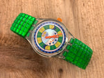 Vintage NOS Swatch Originals Stop Watch SSK110 Green Speed Plastic/Metal Stretch Quartz 1994 VERY RARE!
