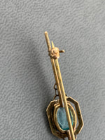 Vintage Art Deco Blue topaz 10K  yellow gold bar pin