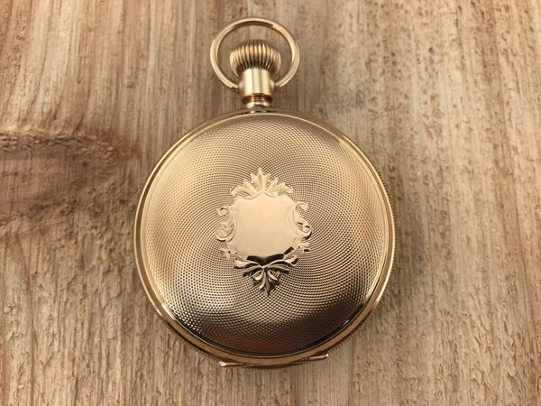 eb54d217d158f Antique American Waltham 14K Yellow Gold Hunting Case Pocket Watch