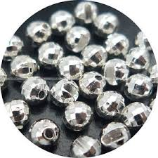 Faceted Slotted Tungsten Beads Silver