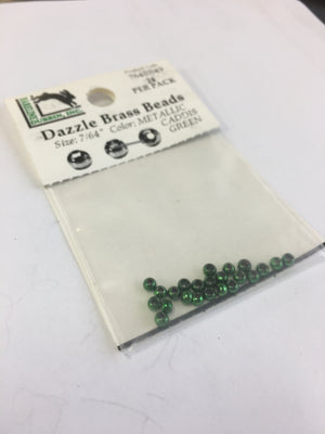 Dazzle Brass Beads - Caddis Green