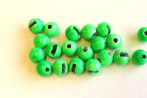 Slotted Tungsten Beads Fluoro Green