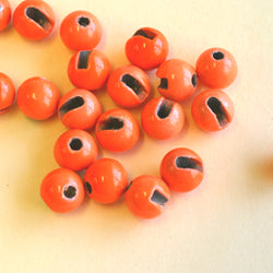 Slotted Tungsten Beads Fluoro Orange