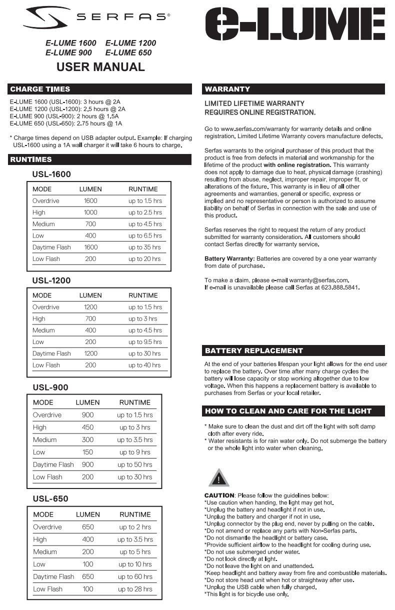 ELUME user manual 2nd page
