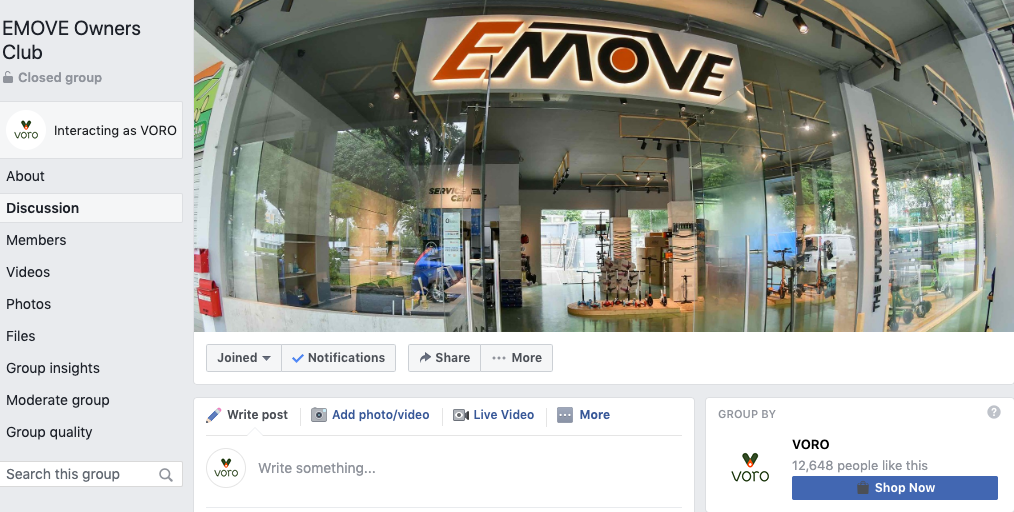 EMOVE Owners Club on Facebook