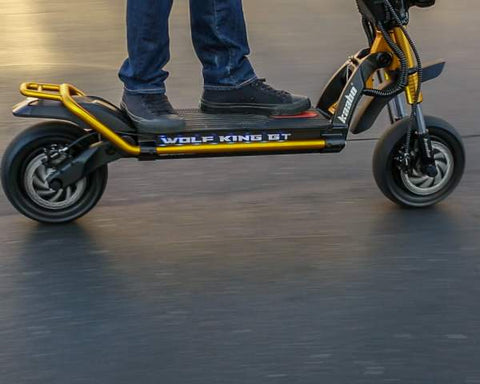 Kaabo Wolf King GT electric scooter in action, cropped angle