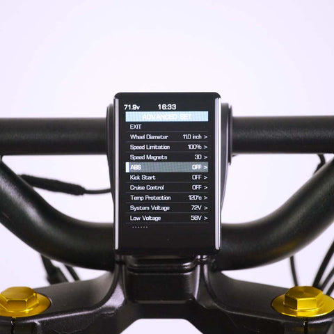 Wolf King GT electric scooter, display, screen on, advanced settings interface