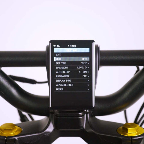 Wolf King GT electric scooter display, screen on, basic settings interface