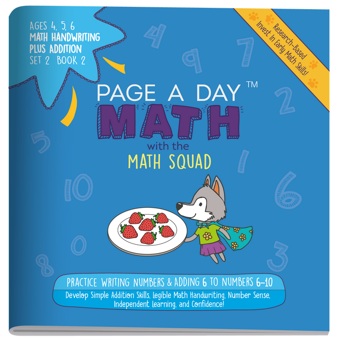 Series 3: ADDITION & MATH HANDWRITING Part B (age 4-6) 10-Book Series, Flash Cards & Assessments - Page A Day Math with the Math Squad