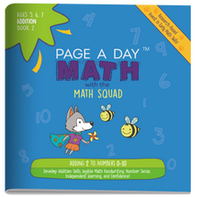 Load image into Gallery viewer, Series 6: ADDITION (age 5-8) 12-Book Series, Flash Cards & Assessments - Page A Day Math with the Math Squad