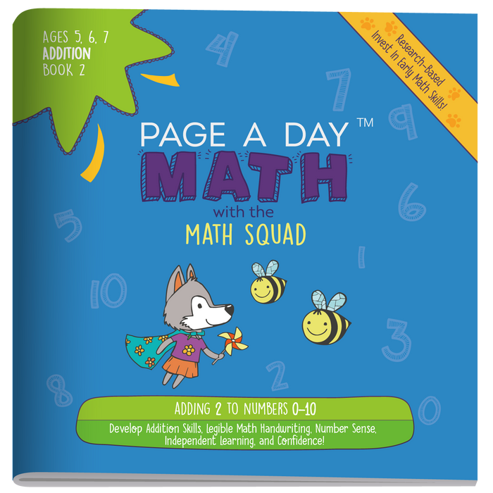 Series 6: ADDITION (age 5-8) 12-Book Series, Flash Cards & Assessments - Page A Day Math with the Math Squad