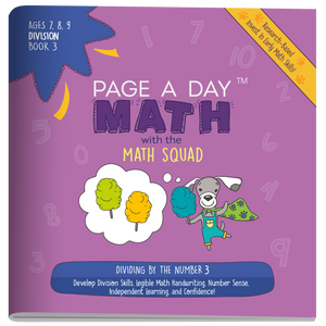 Series 9: DIVISION (age 6-9) 12-Book Series, Flash Cards & Assessments - Page A Day Math with the Math Squad