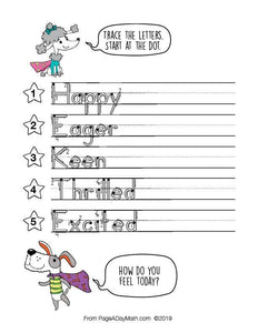100 ADORABLE ADJECTIVES Print Handwriting Book