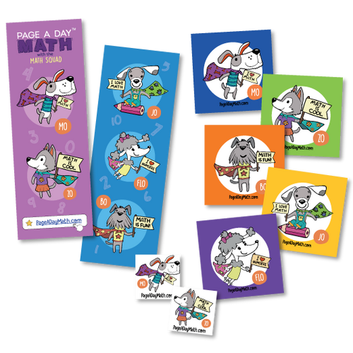 Stickers, Tattoos Bookmarks Featuring the Math Squad