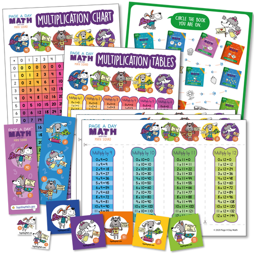 Multiplication Table, Multiplication Chart, Multiplication Activity, Stickers