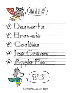 100 EATS AND TREATS Print Handwriting Book