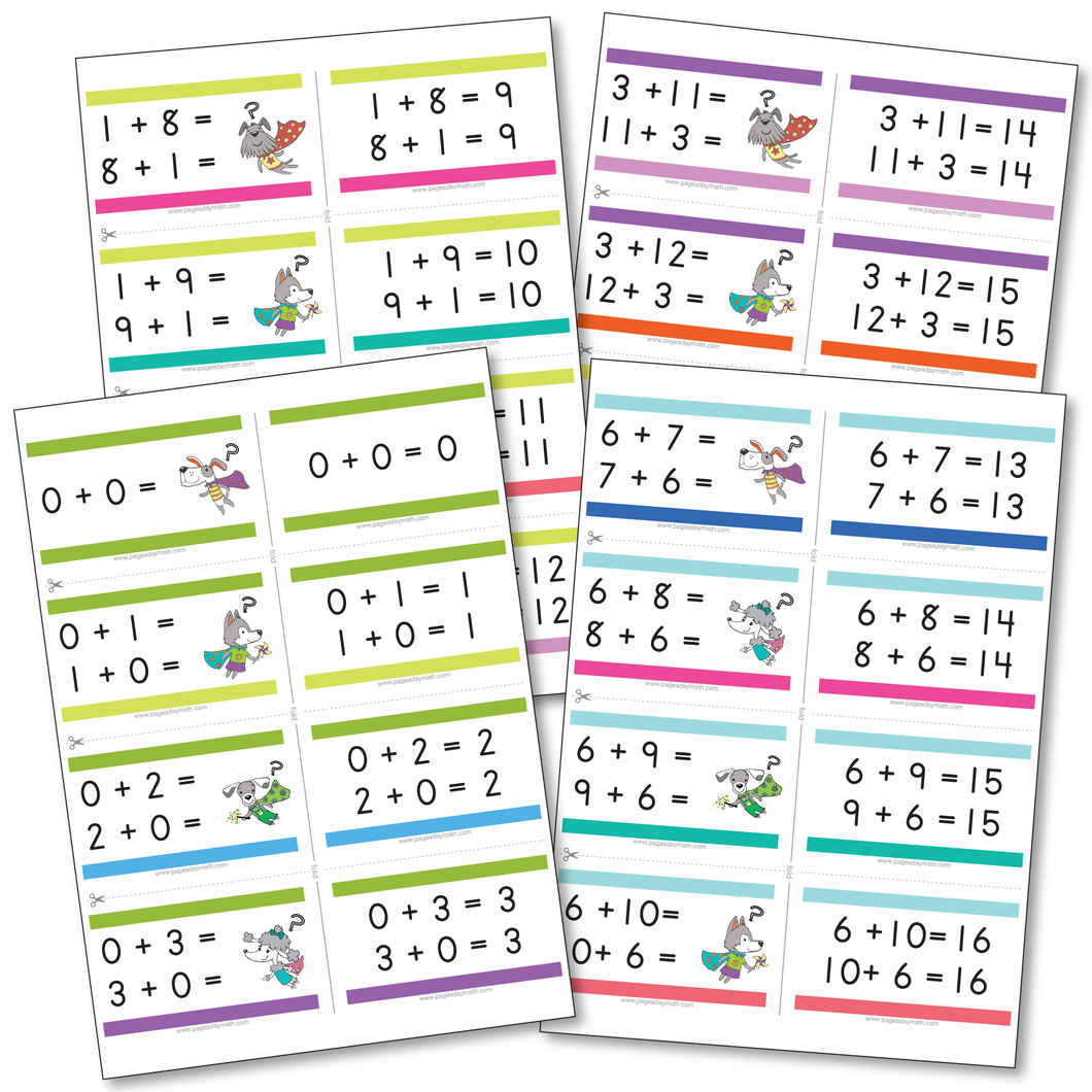 Addition Flashcards | Addition Facts up to 12+12=24