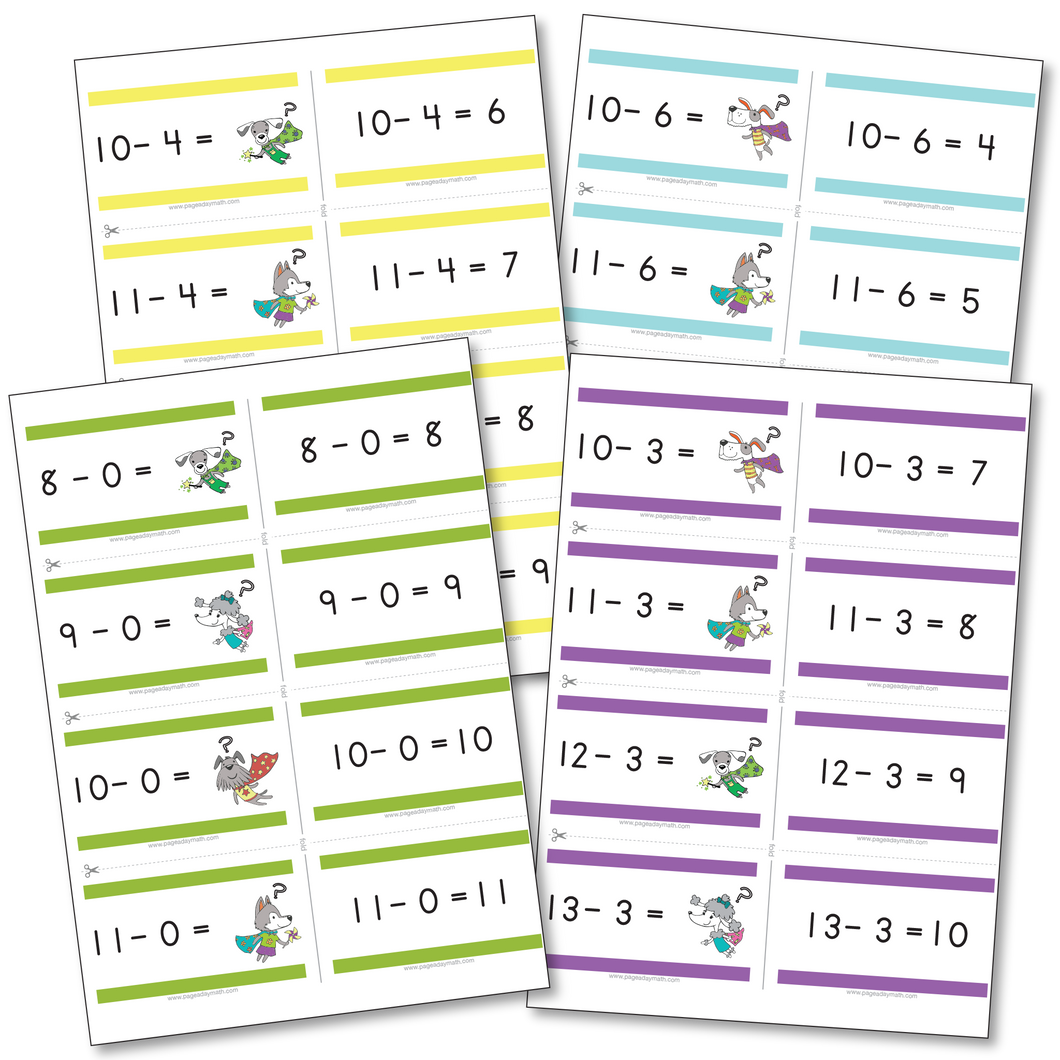 Subtraction Flashcards | Subtraction Facts up to 24-12=12