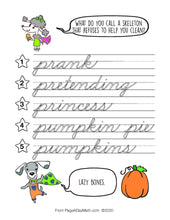 Load image into Gallery viewer, 100 HAPPY HALLOWEEN Words Cursive Handwriting Book