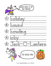 Load image into Gallery viewer, 100 HAPPY HALLOWEEN Words Print Handwriting Book
