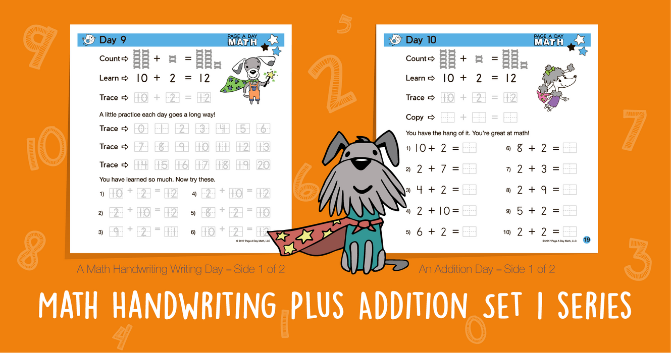 Series 2: ADDITION & MATH HANDWRITING Part A (age 4-6) 10-Book Series, Flash Cards & Assessments - Page A Day Math with the Math Squad