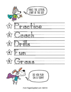 100 PLACES AND SPACES Words Print Handwriting Book