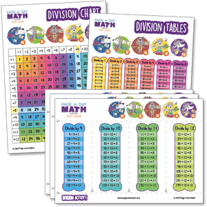 Division Table, Division Chart, Division Activity, Stickers