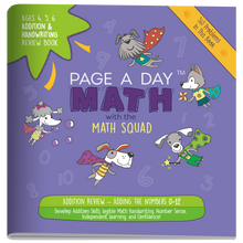 Load image into Gallery viewer, Set 10: REVIEW SERIES -- 1 ADDITION Review Book, 1 SUBTRACTION Review Book, 1 MULTIPLICATION Review Book, 1 DIVISION Review Book - Page A Day Math with the Math Squad