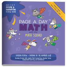 Load image into Gallery viewer, DIVISION & HANDWRITING Review Book - Page A Day Math with the Math Squad
