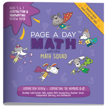 Load image into Gallery viewer, SUBTRACTION & HANDWRITING Review Book - Page A Day Math with the Math Squad