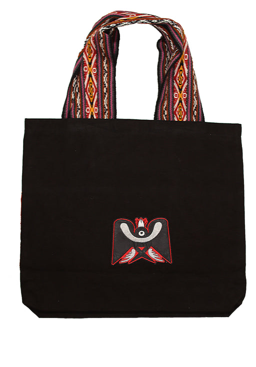 Land R, Peruvian Made, Handwoven Matte Black Tote Bags, Simple Horizon